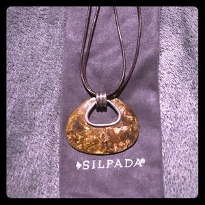 SILPADA NEW Bronze necklace, leather 925 sterling